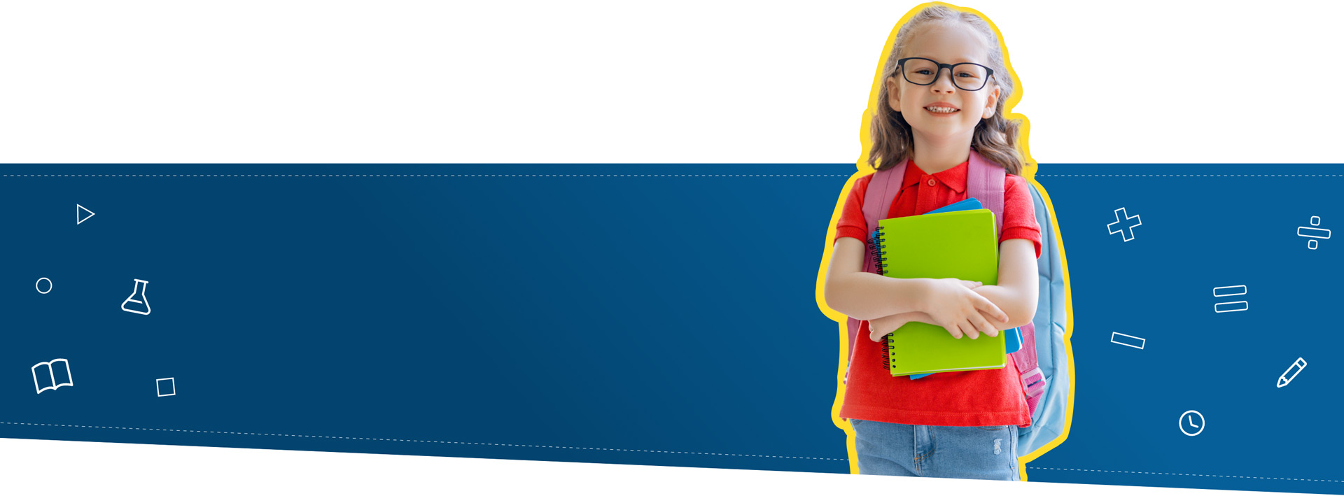 Little girl with glasses and backpack holding notebooks